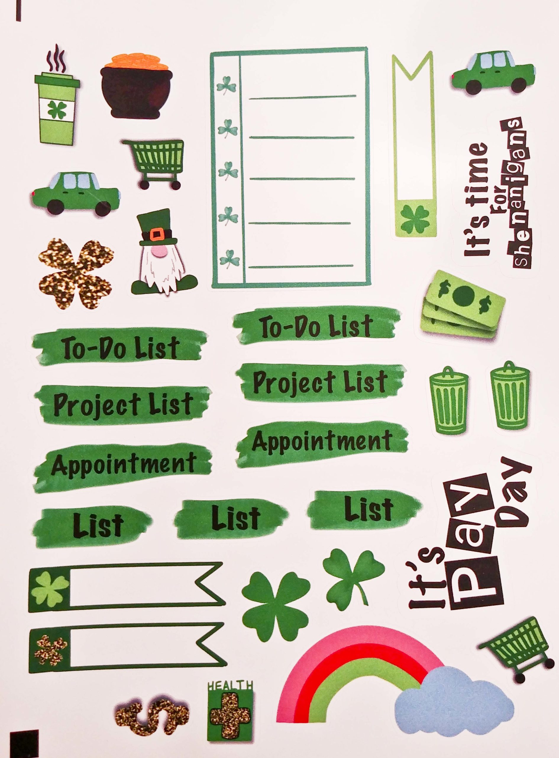 St. Patrick's Day sticker sheet